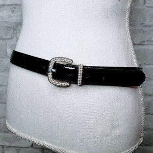 Brighton Patent Black Jeweled Buckle Belt - 36